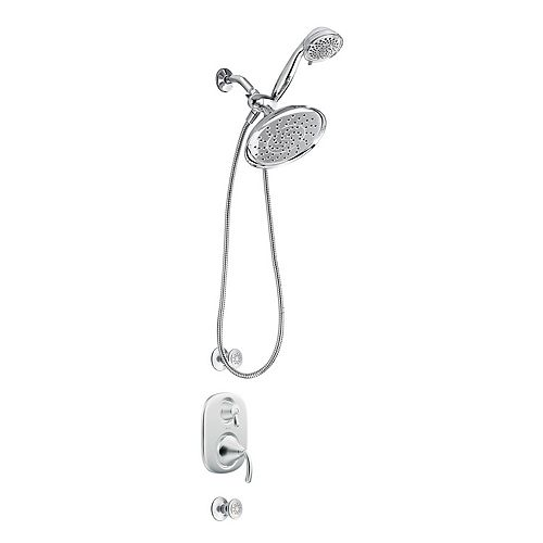 MOEN Spa Lever Round Adjustable Shower System with a Detachable Hose in Chrome (Valve Included)