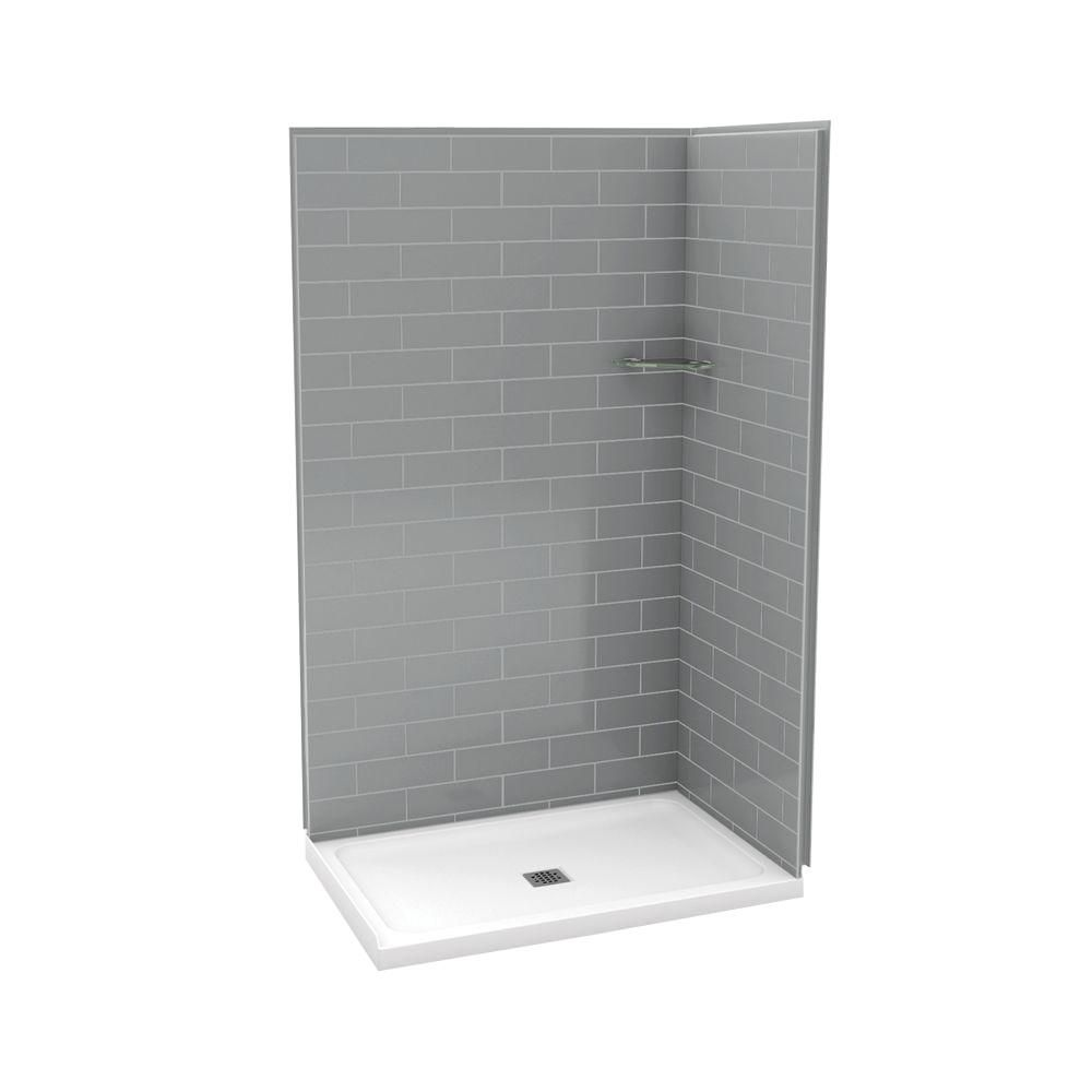 MAAX Utile 32 Inch X 48 Inch Corner Shower Stall In Metro Ash Grey The Home