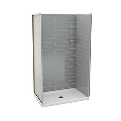 MAAX Utile 32-Inch x 48-Inch Alcove Shower Stall in Metro Ash Grey ...