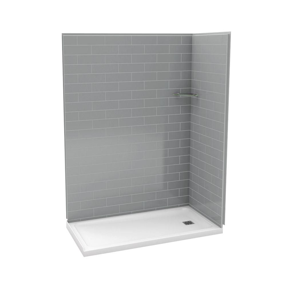 Utile 32-Inch  x 60-Inch  Corner Shower Stall in Metro Ash Grey