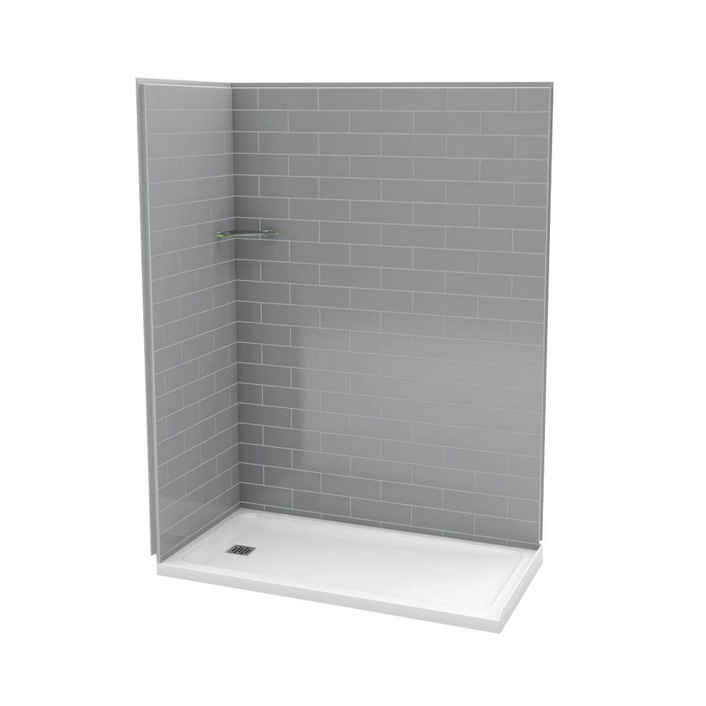 Utile 32-Inch  x 60-Inch  Corner Shower Stall in Metro Ash Grey