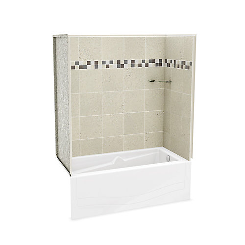 Utile Stone Sahara 60-inch x 81.25-inch x 30-inch 1-shelf 4-Piece Right Hand Drain Tub & Shower