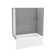 Utile Metro Ash Grey Tub Wall Kit with Avenue Tub Right Hand