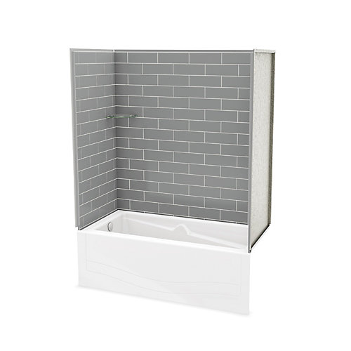Utile Metro Ash Grey Tub Wall Kit with Avenue Tub Left Hand