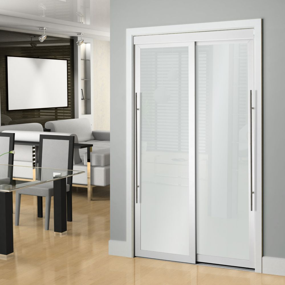 60 Inch White Framed Frosted Sliding Door