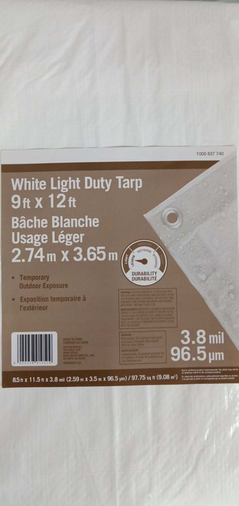 THD 9 ft. x 12 ft. All-Purpose Tarp in White