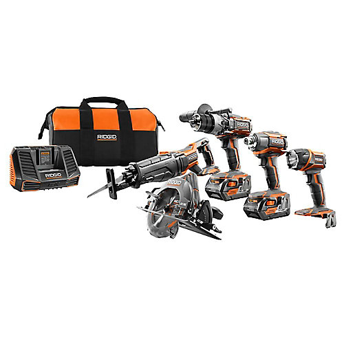 18V Lithium-Ion Cordless Combo Kit (5-Tool) w/ (2) 4.0 Ah Batteries, 18V Charger & Contractor's Bag
