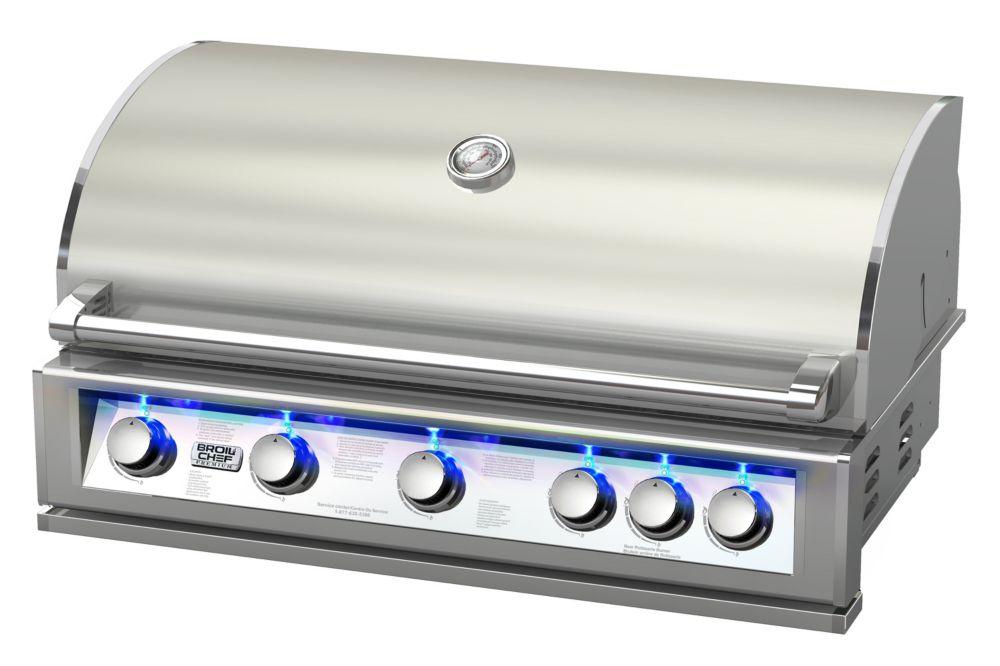 PRO-SERIES 40 pouces intégré LP Barbecue au gaz avec brûleur de tournebroche arrière