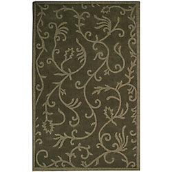 Anglo Oriental Carpette d'intérieur, 5 pi x 8 pi, à poils longs, style contemporain, rectangulaire, vert Lauren