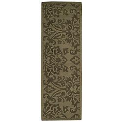 Anglo Oriental Tapis de passage d'intérieur, 2 pi 3 po x 7 pi, style contemporain, vert Daphne