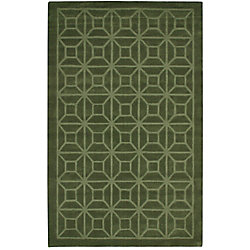 Anglo Oriental Dynasty Green 5 ft. x 8 ft. Indoor Contemporary Rectangular Area Rug