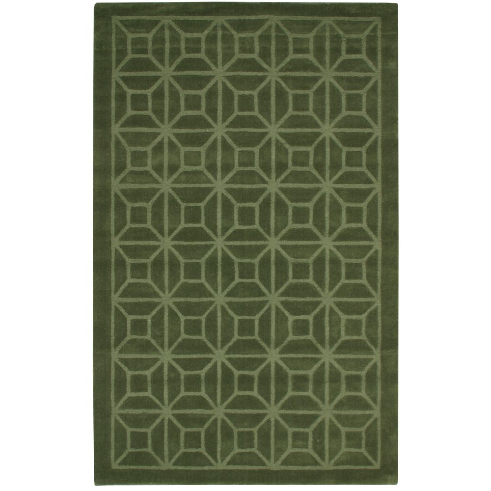 Dynasty Green 5 ft. x 8 ft. Indoor Contemporary Rectangular Area Rug