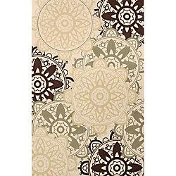 Anglo Oriental Carpette d'intérieur, 5 pi x 8 pi, à poils longs, style contemporain, rectangulaire, havane Catherine