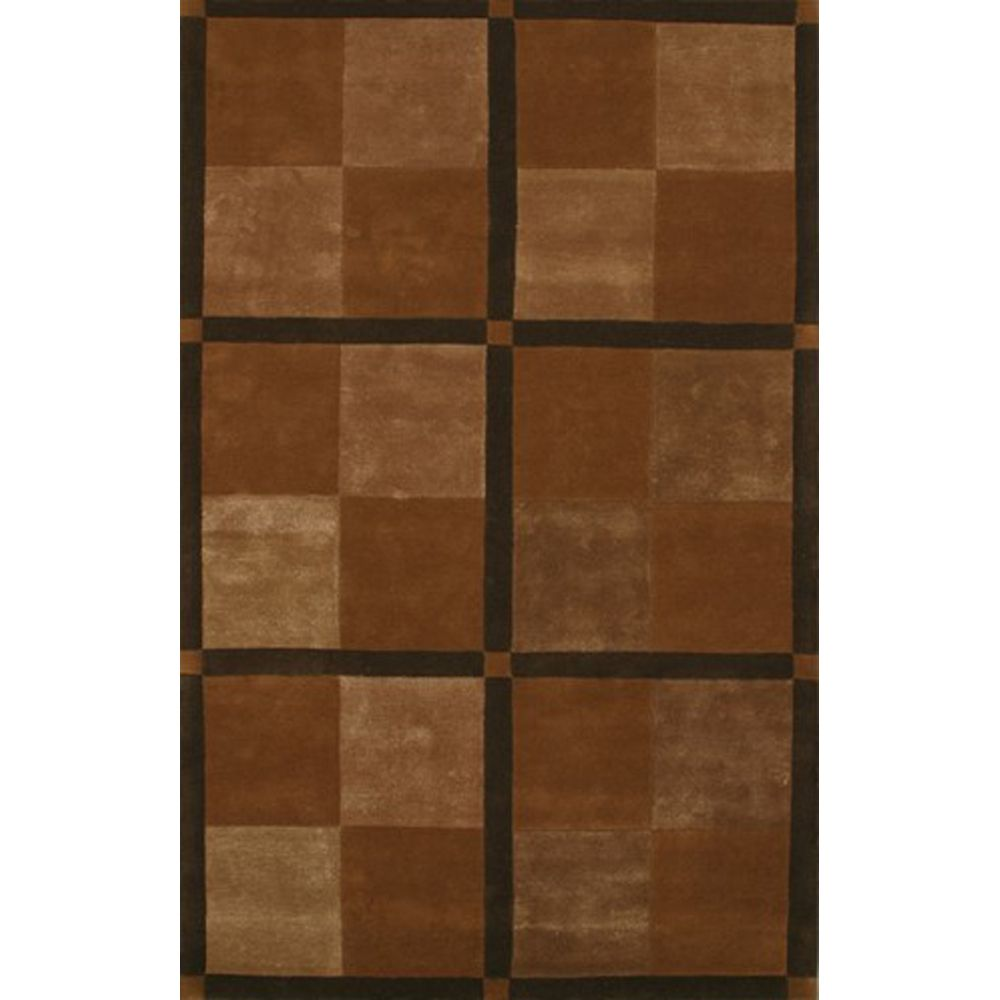 Brown Designer Square Area Rug 5 Feet X 8 Feet