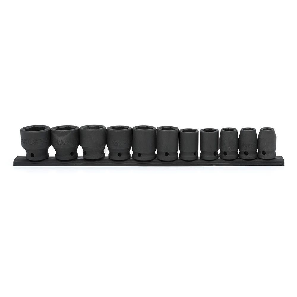 HUSKY 11pc 1/2 Inch Drive Standard Sae Impact Socket Set