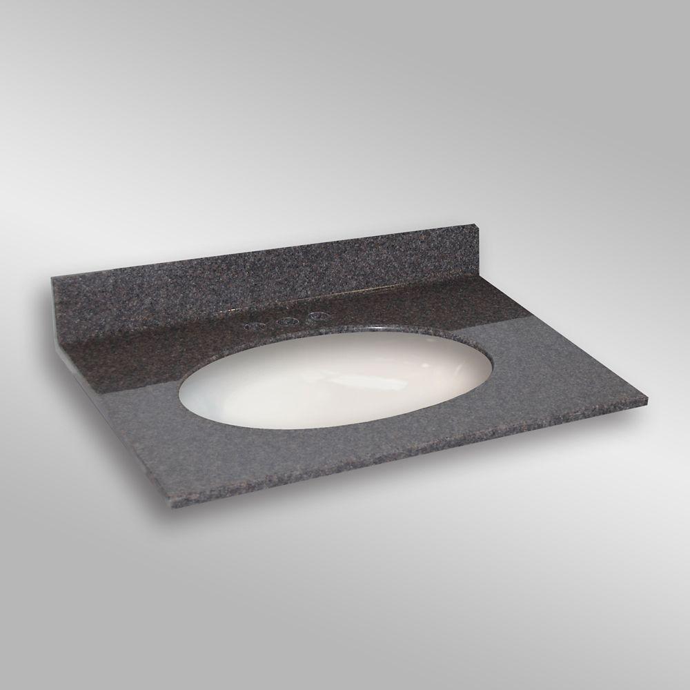 31-Inch W x 22-Inch D Granite Oval Centre Basin Vanity Top in Mystique