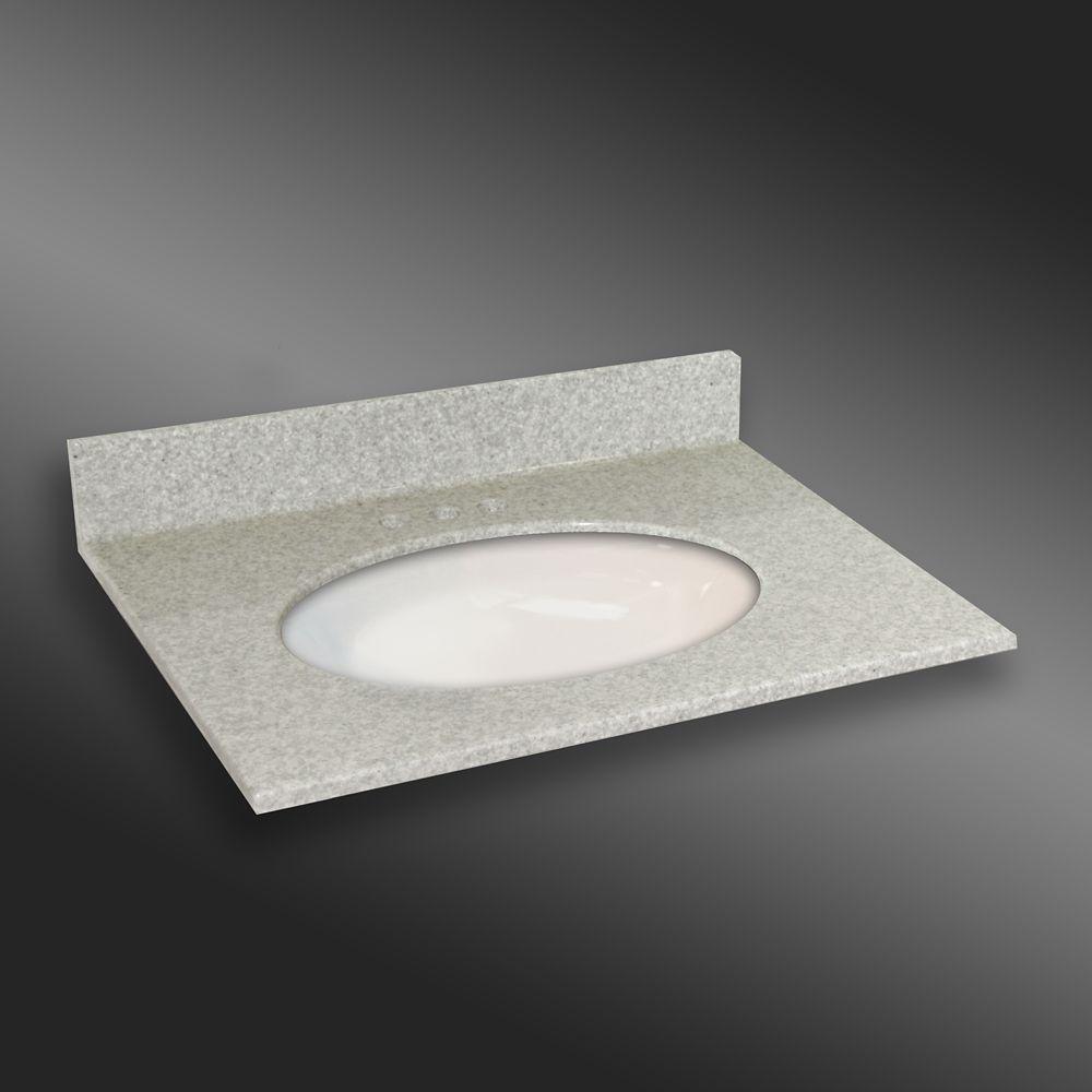 Ovale lavabo porcelain monté centré, PG907- Brume de Willow- 31 x 22 pouces