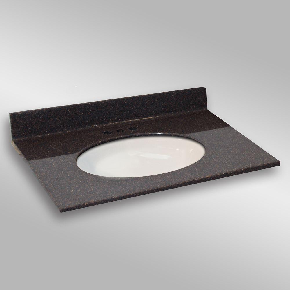 Ovale lavabo porcelain monté centré, PG133- Espresso- 37 x 22 pouces