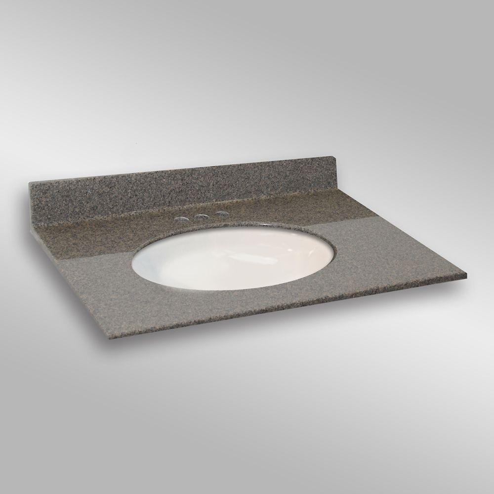 37-Inch W x 22-Inch D Granite Oval Centre Basin Vanity Top in Carioca Stone