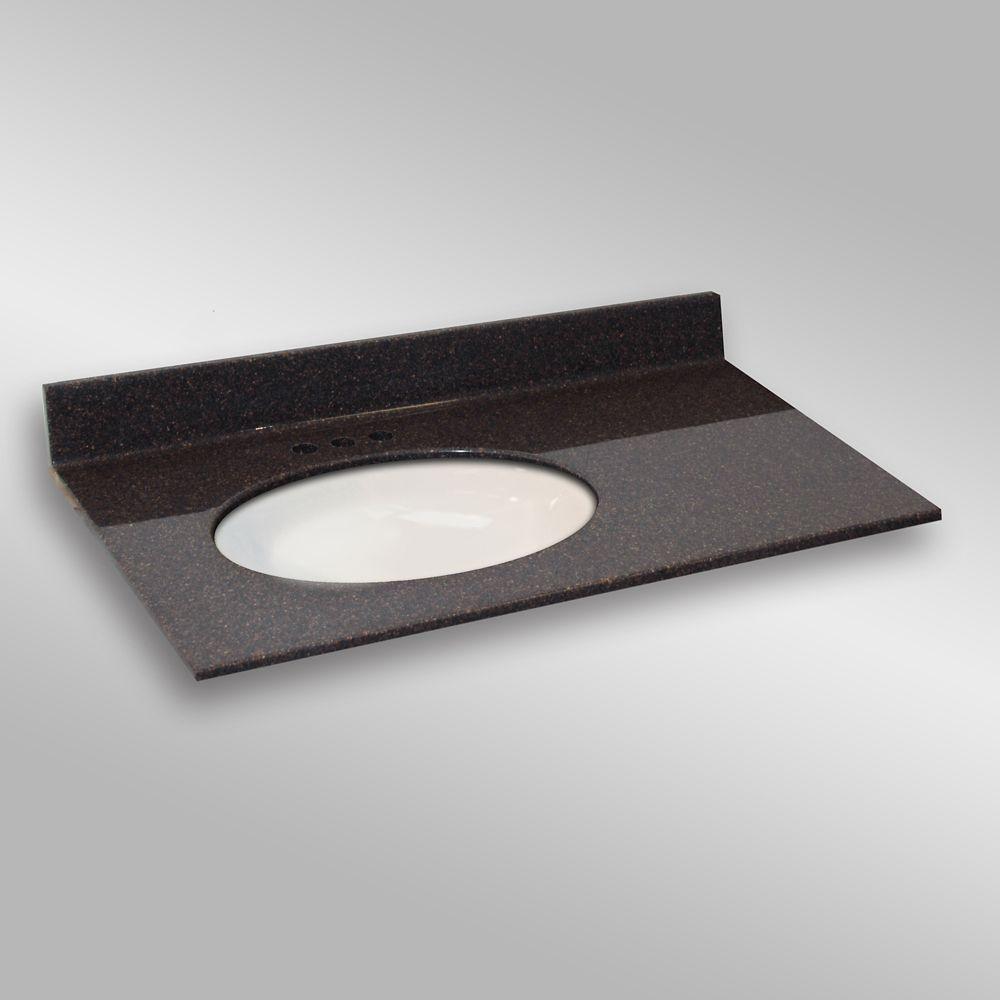 Ovale lavabo porcelain monté a la main gauche, PG133- Espresso- 37 x 22 pouces