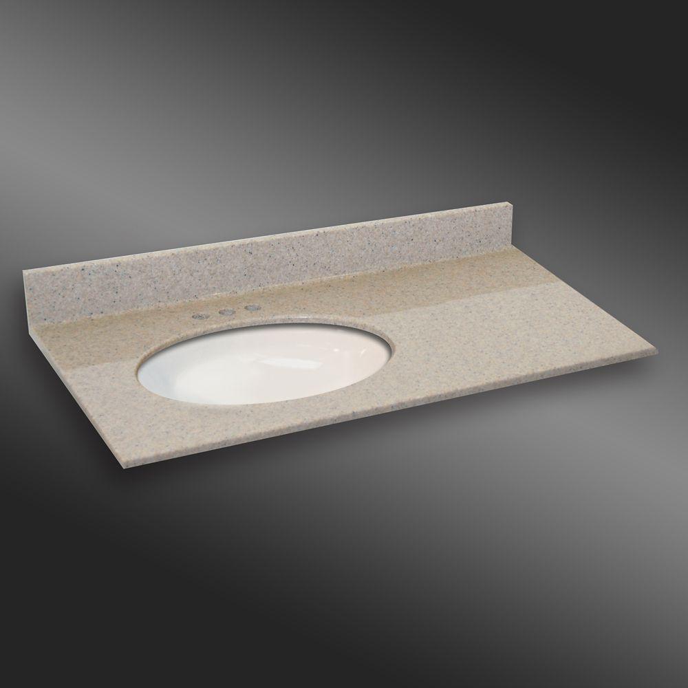 Ovale lavabo porcelain monté a la main gauche, PG141- Crème Irlandaise- 37 x 22 pouces