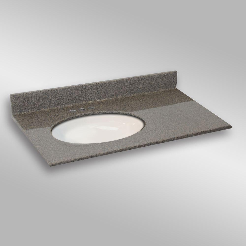 37-Inch W x 22-Inch D Granite Oval Left-Hand Basin Vanity Top in Carioca Stone