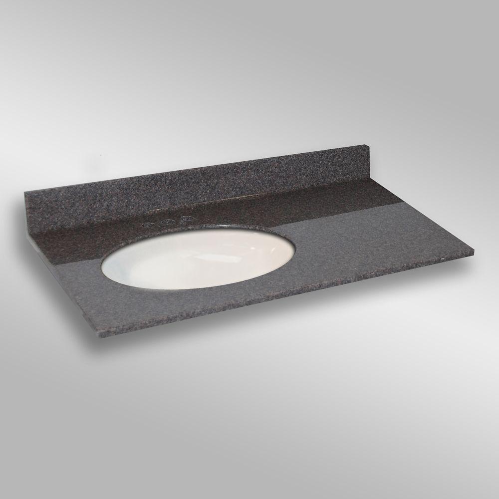 37-Inch W x 22-Inch D Granite Oval Left-Hand Basin Vanity Top in Mystique