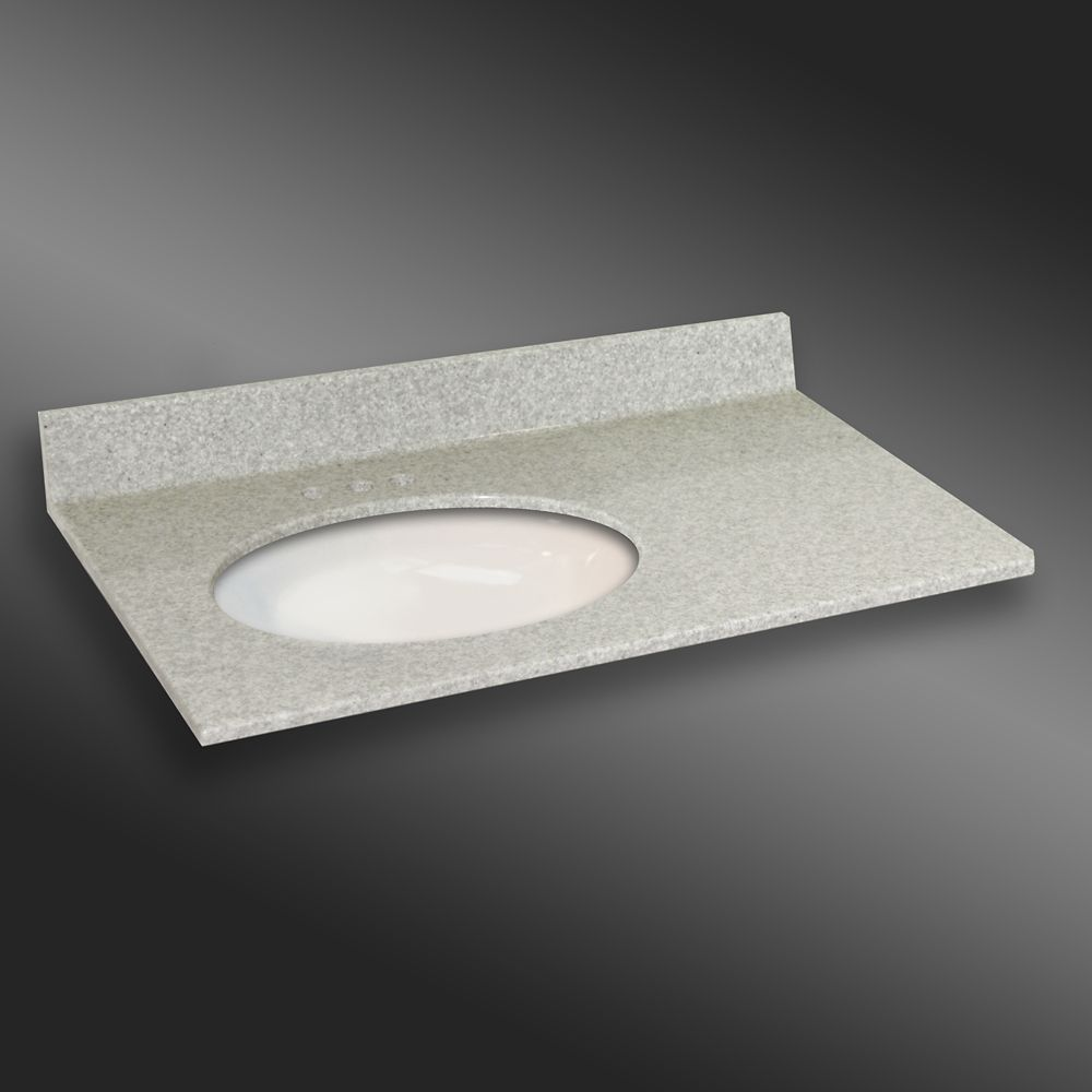 37-Inch W x 22-Inch D Granite Oval Left-Hand Basin Vanity Top in Willow Mist