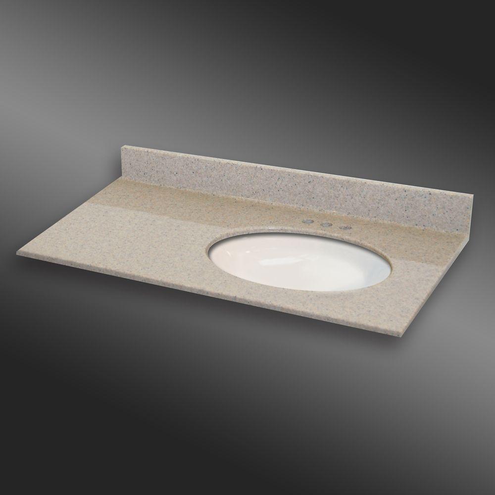 Ovale lavabo porcelain monté a la main droite, PG141- Crème Irlandaise- 37 x 22 pouces