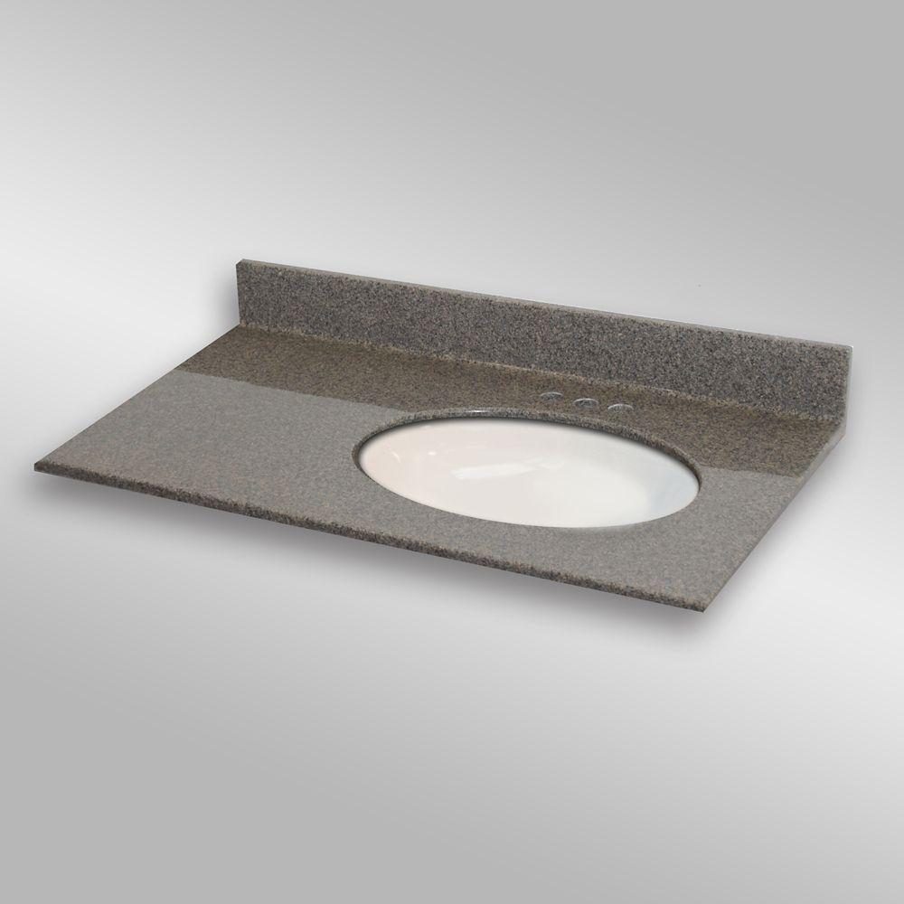 37-Inch W x 22-Inch D Granite Oval Right-Hand Basin Vanity Top in Carioca Stone