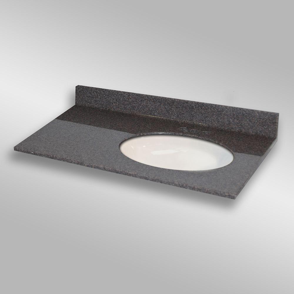 37-Inch W x 22-Inch D Granite Oval Right-Hand Basin Vanity Top in Mystique