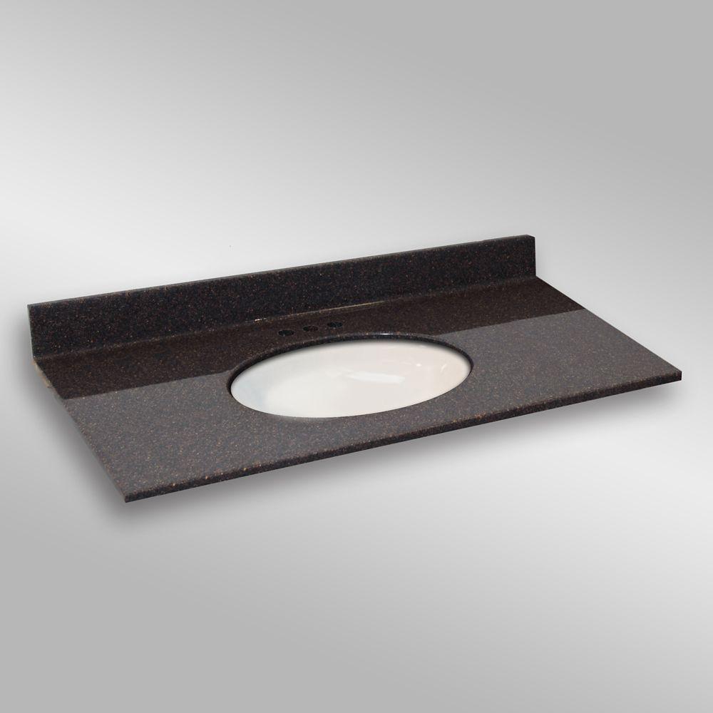 Ovale lavabo porcelain monté centré, PG133- Espresso- 49 x 22 pouces