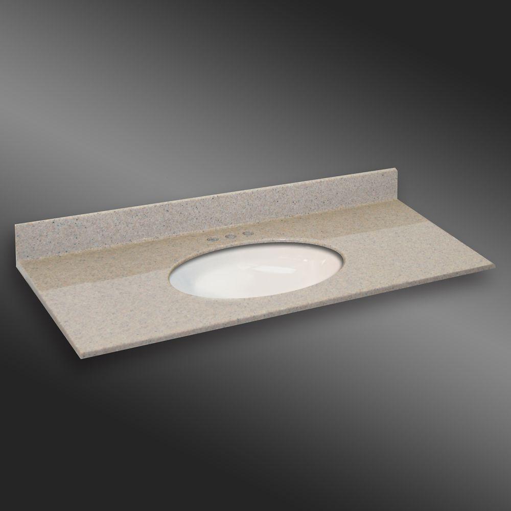 Ovale lavabo porcelain monté centré, PG141- Crème Irlandaise- 49 x 22 pouces
