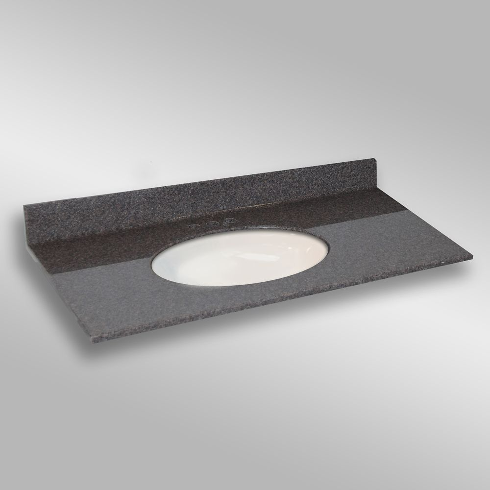 49-Inch W x 22-Inch D Granite Oval Centre Basin Vanity Top in Mystique