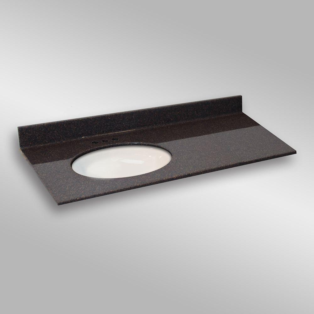 49-Inch W x 22-Inch D Granite Oval Left-Hand Basin Vanity Top in Espresso