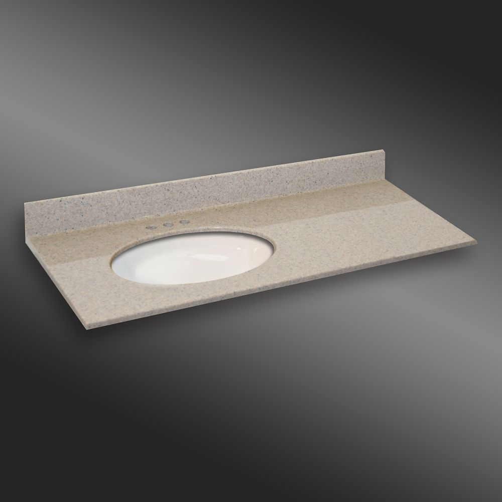 49-Inch W x 22-Inch D Granite Oval Left-Hand Basin Vanity Top in Irish Cream