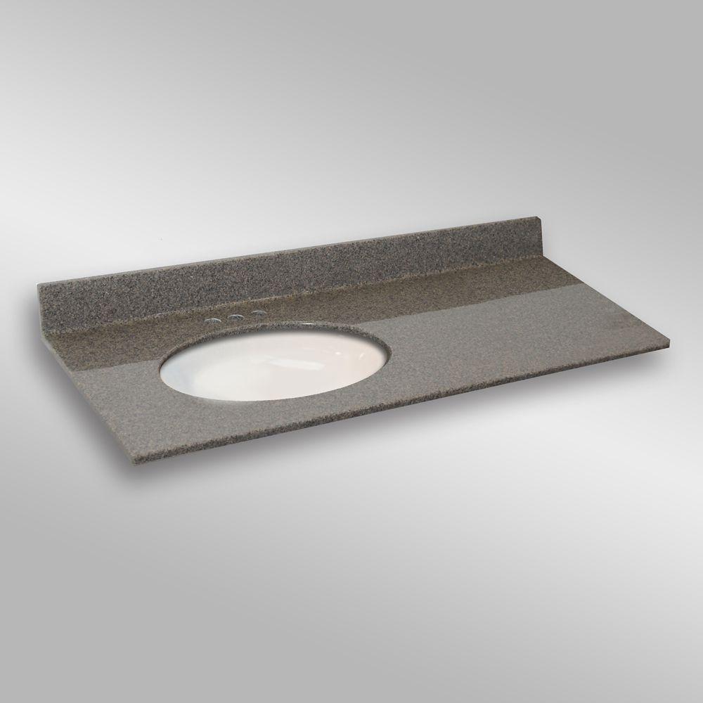 49-Inch W x 22-Inch D Granite Oval Left-Hand Basin Vanity Top in Carioca Stone