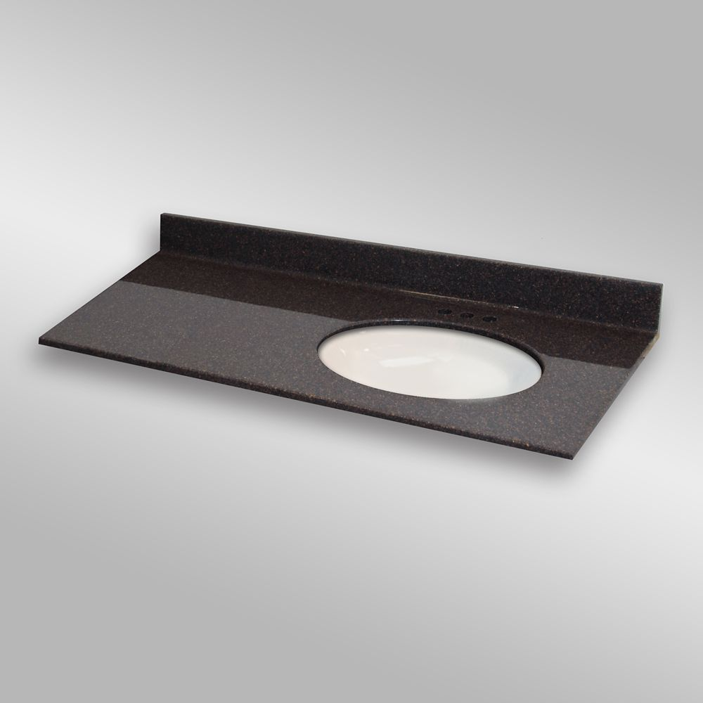 49-Inch W x 22-Inch D Granite Oval Right-Hand Basin Vanity Top in Espresso