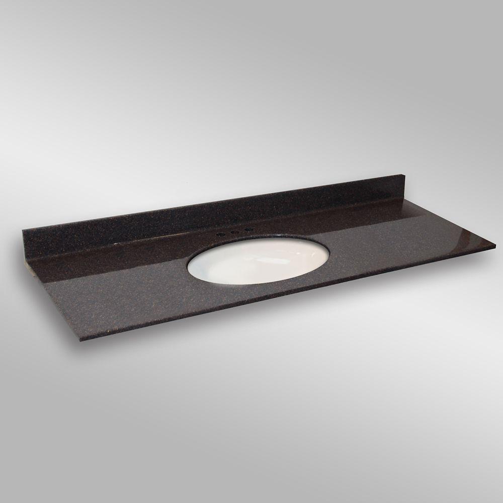 Ovale lavabo porcelain monté centré, PG133- Espresso- 61 x 22 pouces