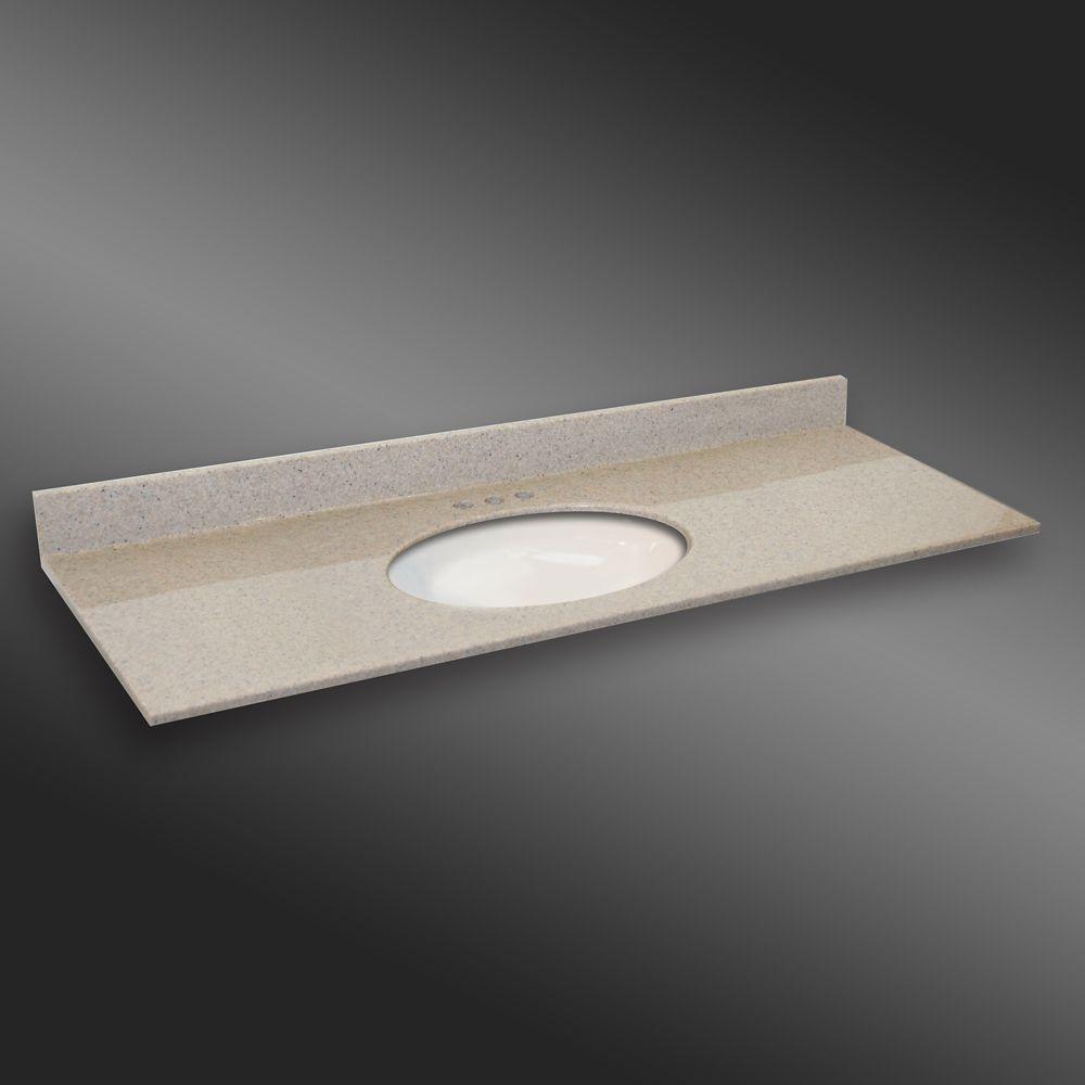 61-Inch W x 22-Inch D Granite Oval Centre Basin Vanity Top in Irish Cream