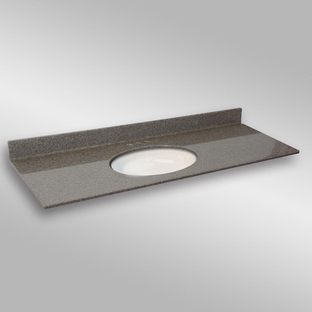 61-Inch W x 22-Inch D Granite Oval Centre Basin Vanity Top in Carioca Stone