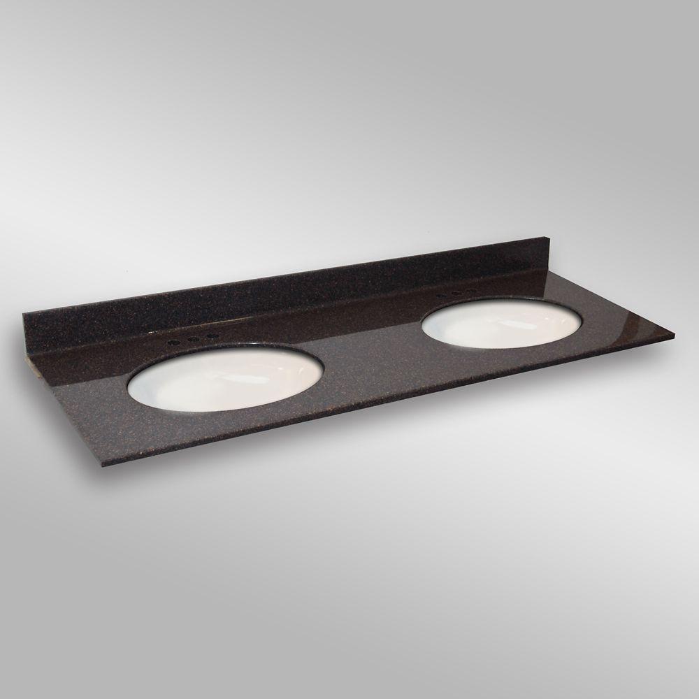 61-Inch W x 22-Inch D Granite Oval Double Basin Vanity Top in Espresso