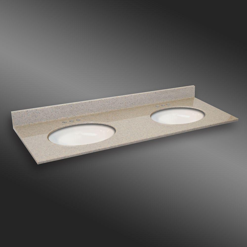 Ovale lavabo porcelain monté double, PG141- Crème Irlandaise- 61 x 22 pouces