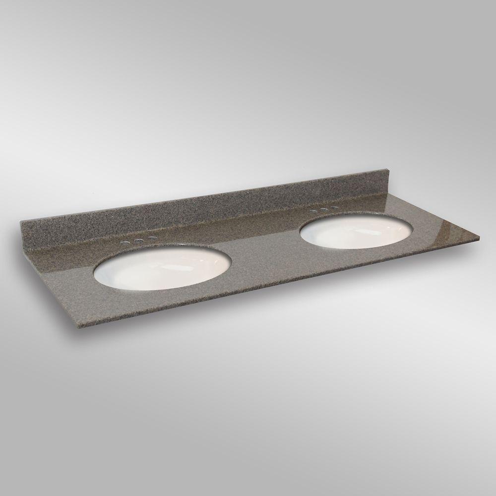 Ovale lavabo porcelain monté double, PG144- Pierre Carioca- 61 x 22 pouces