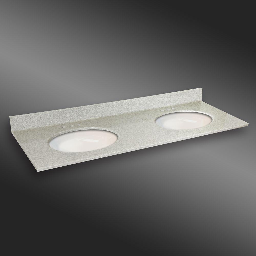 61-Inch W x 22-Inch D Granite Oval Double Basin Vanity Top in Willow Mist