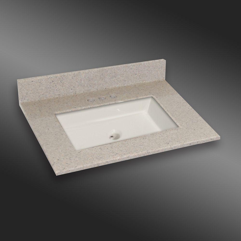 Carré lavabo porcelain monté centré, PG141- Crème Irlandaise- 31 x 22 pouces