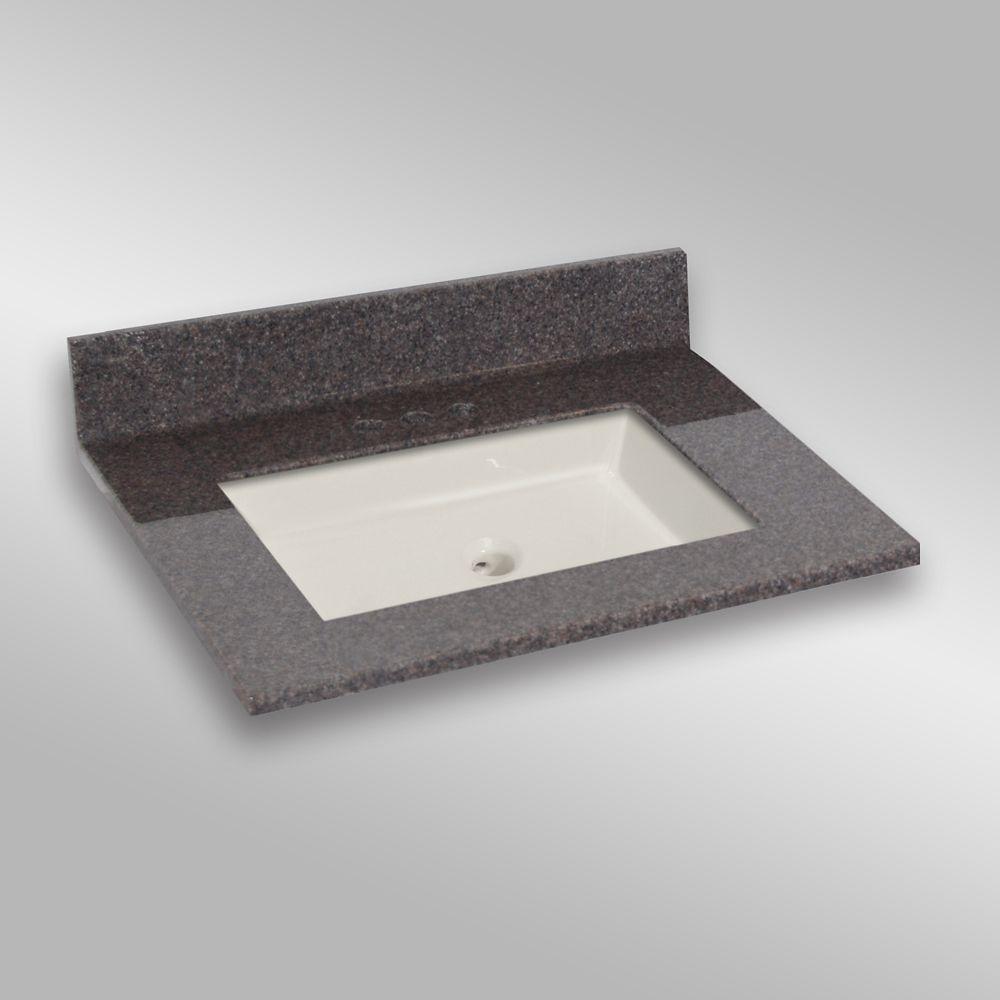 31-Inch W x 22-Inch D Granite Square Centre Basin Vanity Top in Mystique