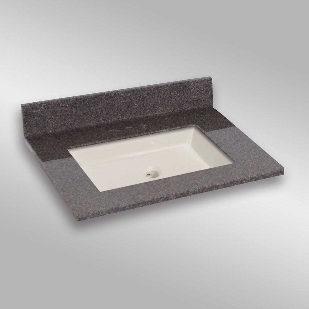 31-Inch W x 22-Inch D Granite Square Centre Basin Vanity Top in Mystique