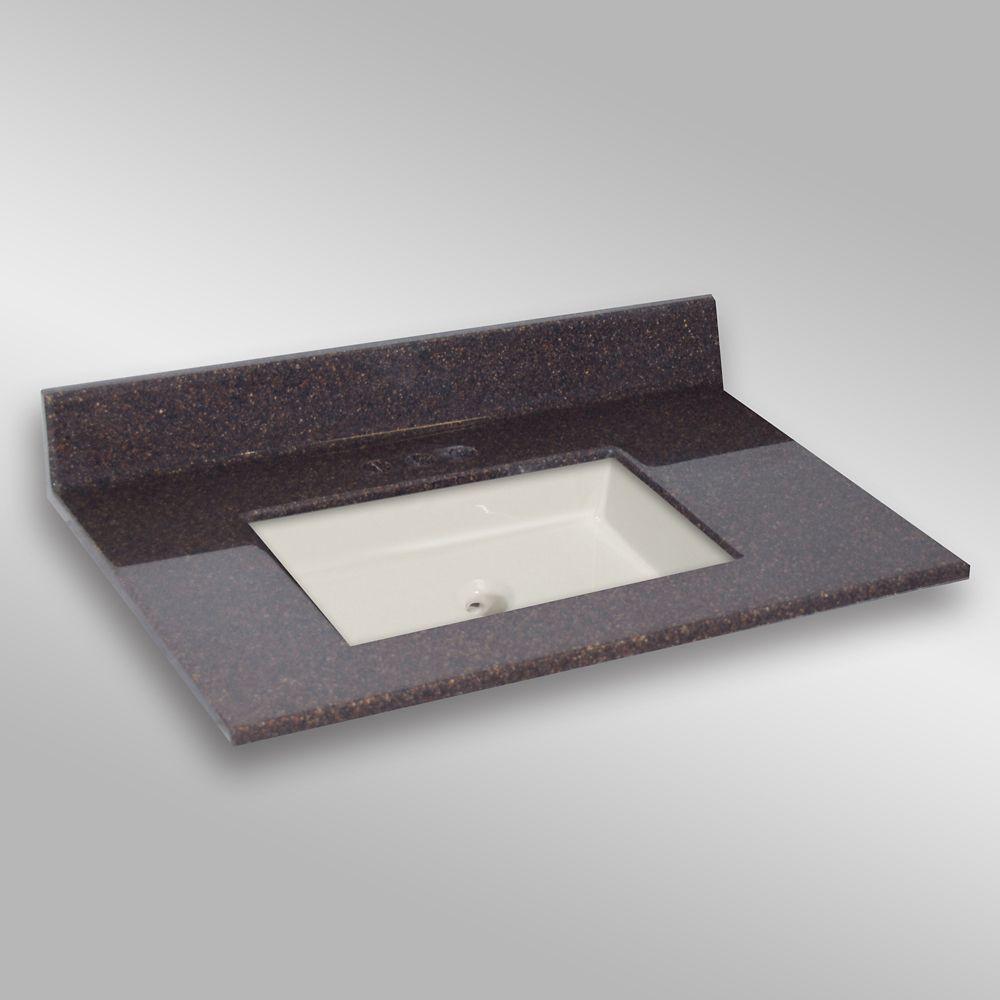 37-Inch W x 22-Inch D Granite Square Centre Basin Vanity Top in Espresso