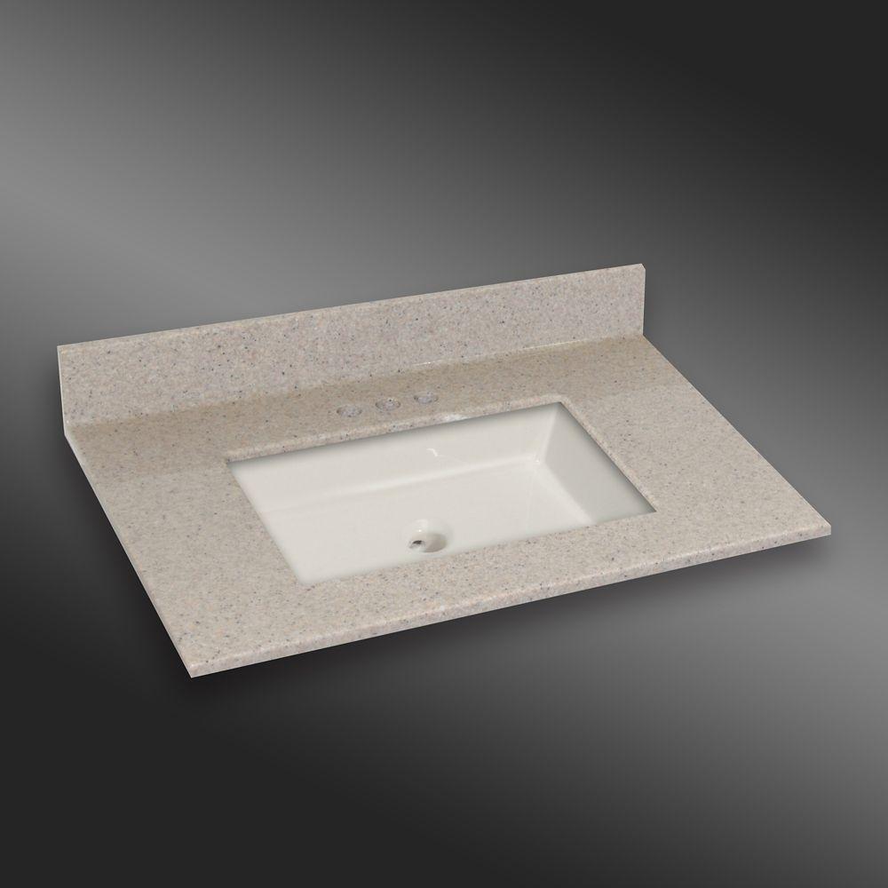 Carré lavabo porcelain monté centré, PG141- Crème Irlandaise- 37 x 22 pouces